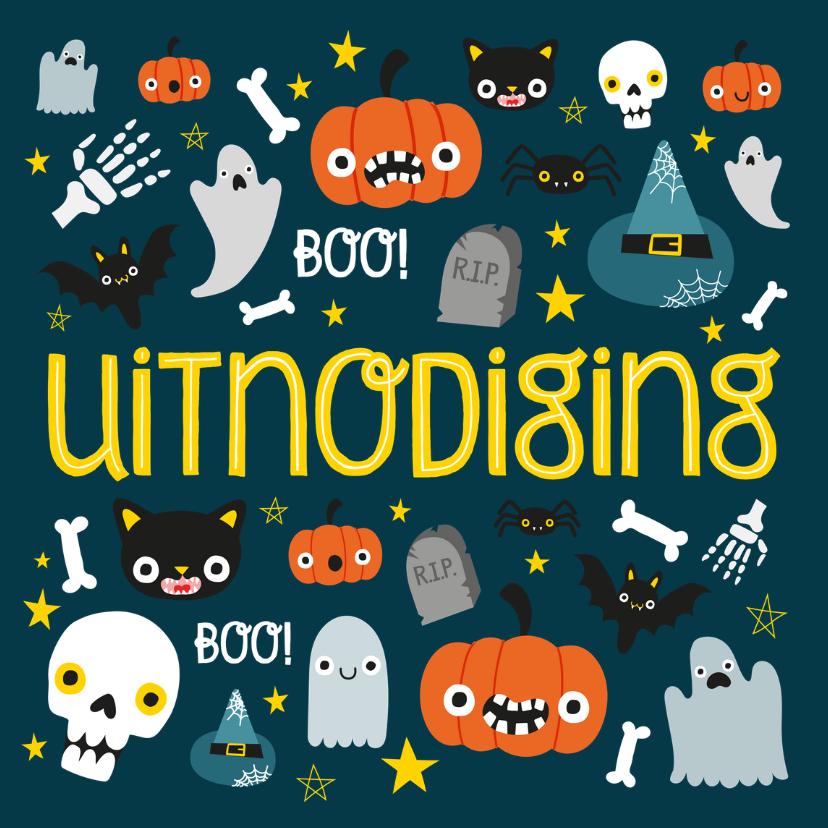 Halloween kaarten - Halloween uitnodiging met illustratie