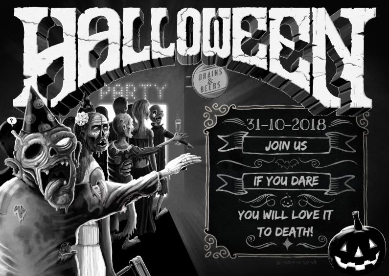Halloween kaarten - Halloween Zombie Uitnodiging ds