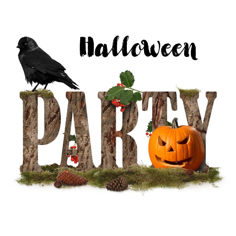 Halloween kaarten - Halloweenfeest Jack en zwarte vogel