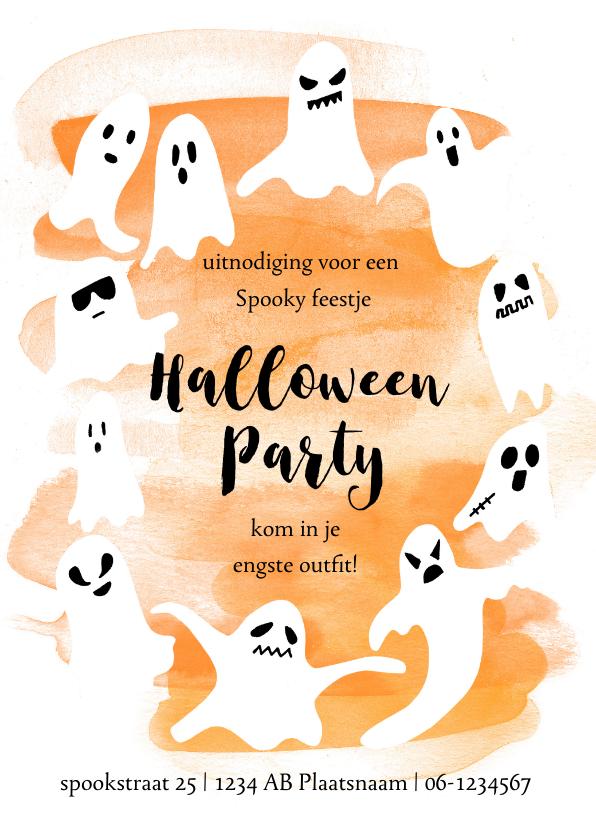 Halloween kaarten - Halloweenfeestje met spooken en oranje waterverf