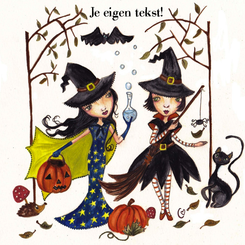 Halloween kaarten - Heksenfeestje by Cartita Design