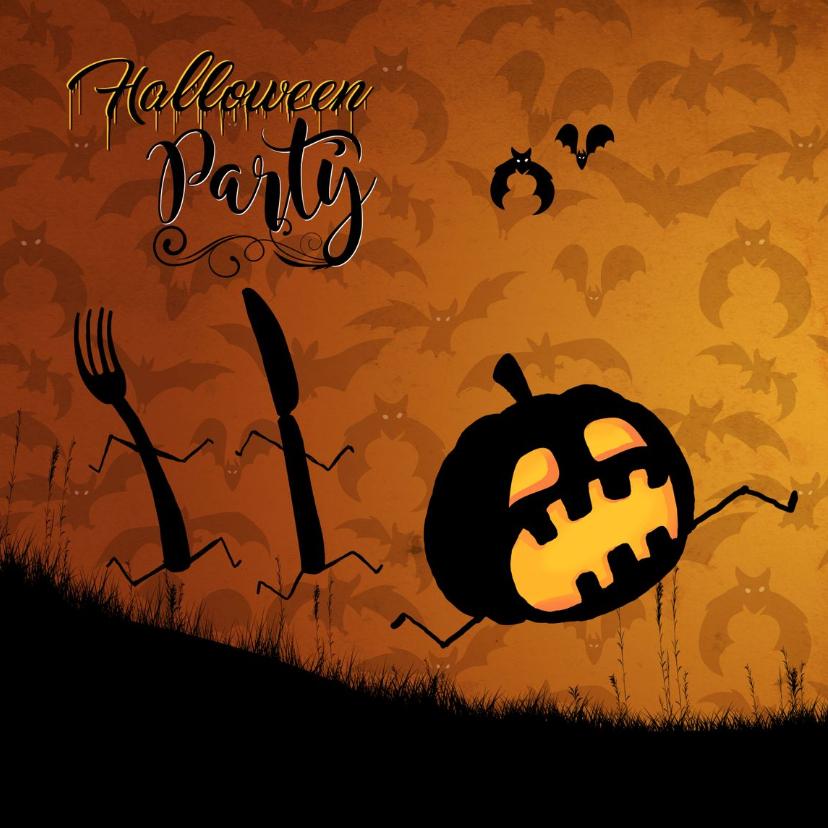 Halloween kaarten - Uitnodiging - Run Pumkin Run