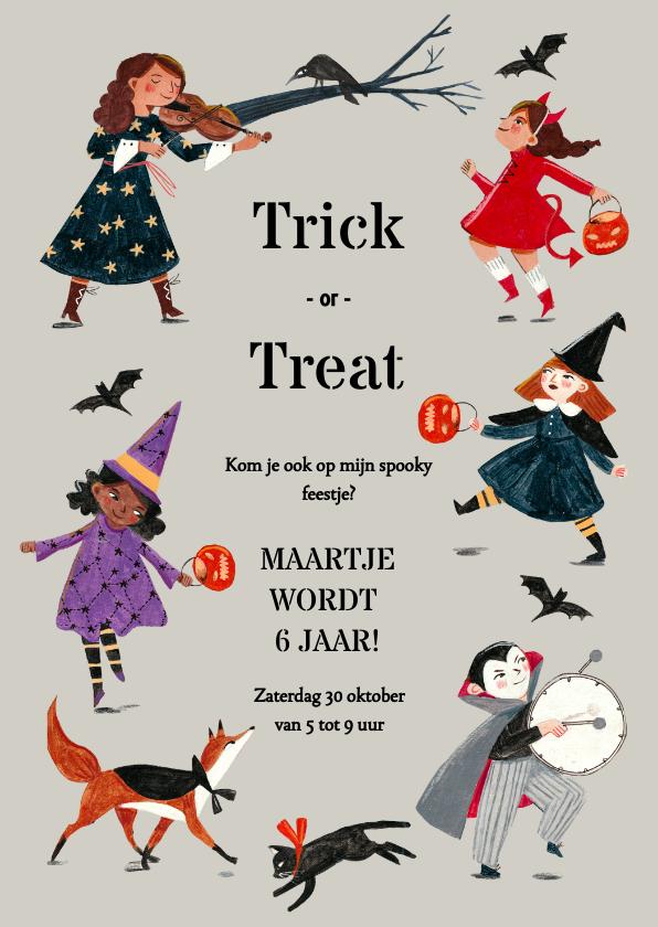 Halloween kaarten - Uitnodiging Trick or Treat kinder verkleed optocht