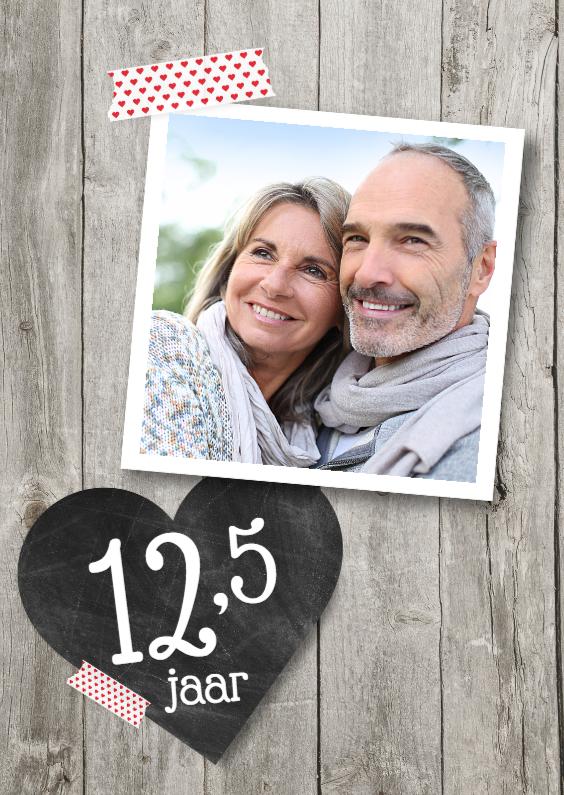 Jubileumkaarten - 12,5 jaar hart foto hout