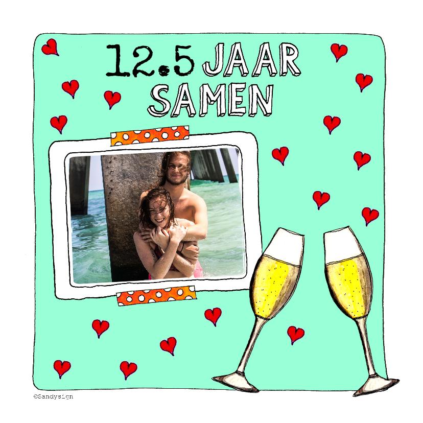 Jubileumkaarten - Jubileumkaart .. jaar samen met foto en champagneglazen - SD