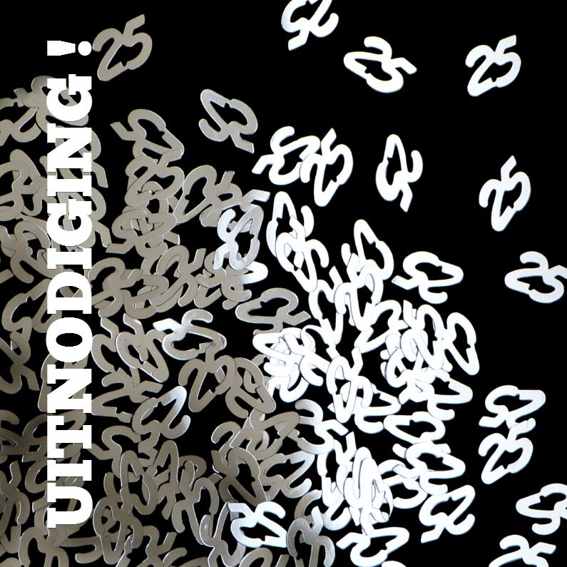 Jubileumkaarten - 25 jaar confetti - kies uw achtergrond