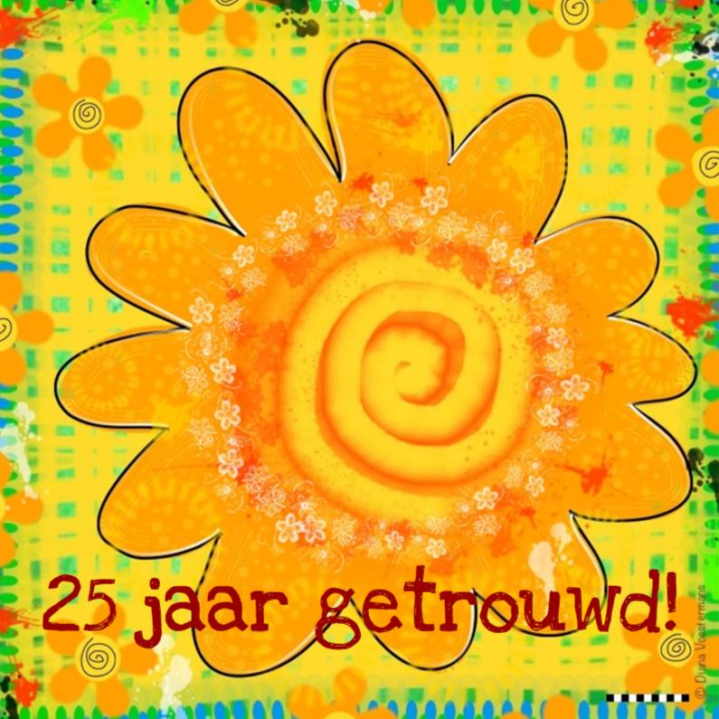 Jubileumkaarten - 25 jaar getrouwd gele bloem