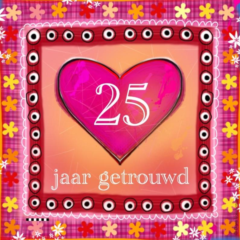 Jubileumkaarten - 25 jaar getrouwd roze hart