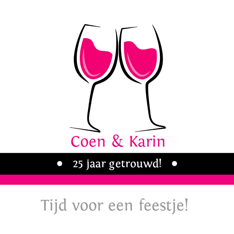 Uitnodigingen - 25 jaar getrouwd wijnglazen - SZ