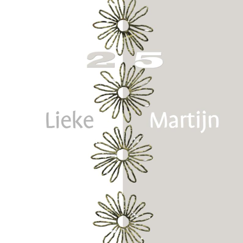 Jubileumkaarten - 25 jaar met bloemen