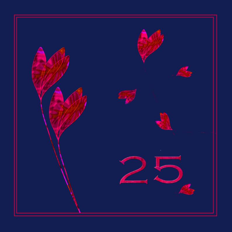 Jubileumkaarten - 25 jaar rode bloemen