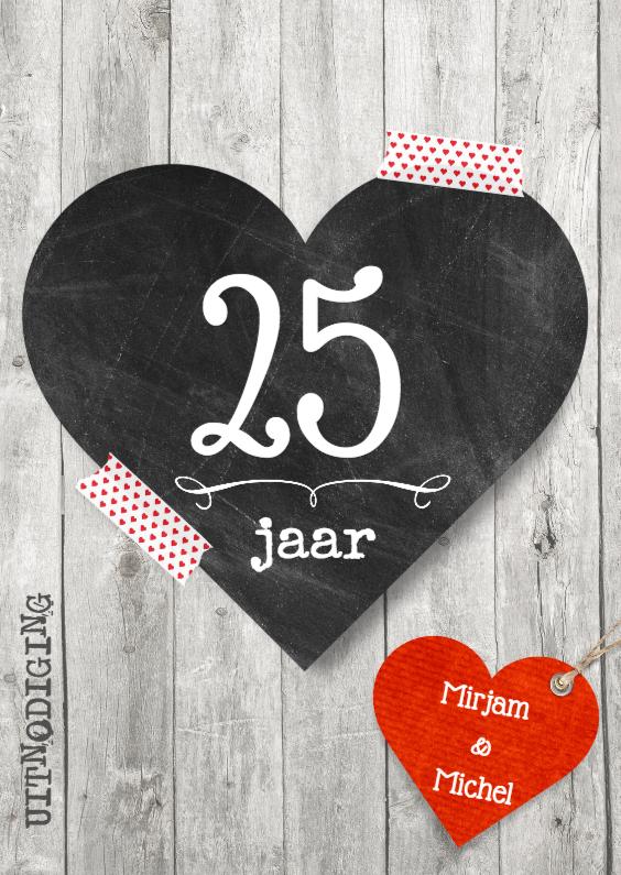 Uitnodigingen - 25 jubileum Krijtbord hart