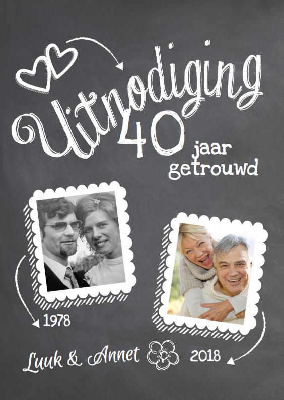 Jubileumkaarten - 40 jaar getrouwd foto jubileumkaart krijtbord design