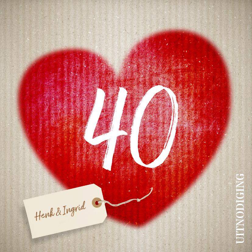 Jubileumkaarten - 40 jaar huwelijk hart - uitnodiging