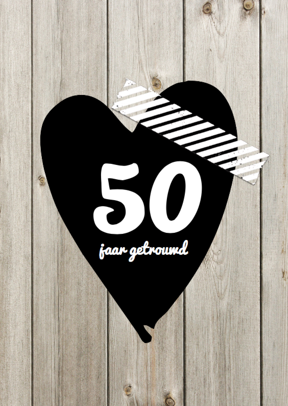Jubileumkaarten - 50 jaar huwelijksjubileum hout print en hart