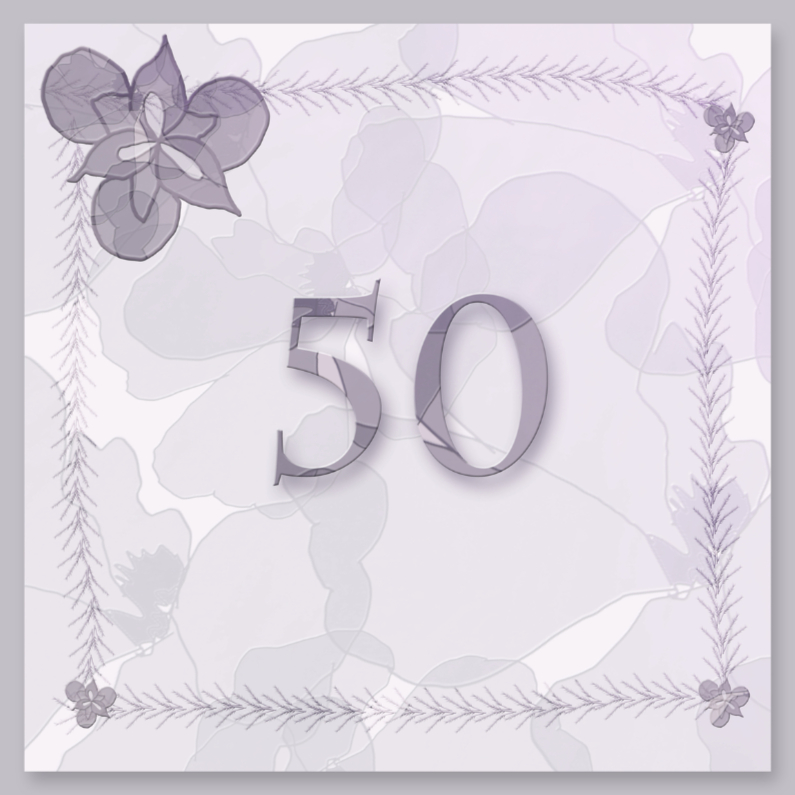 Jubileumkaarten - 50 jaar in lila