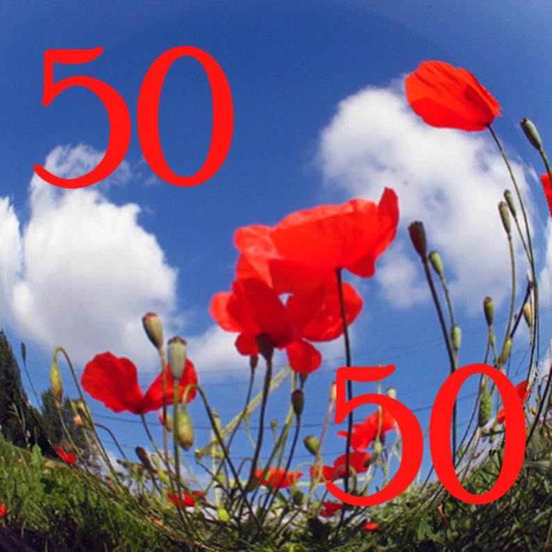 Jubileumkaarten - 50 Uitnodiging klaproos