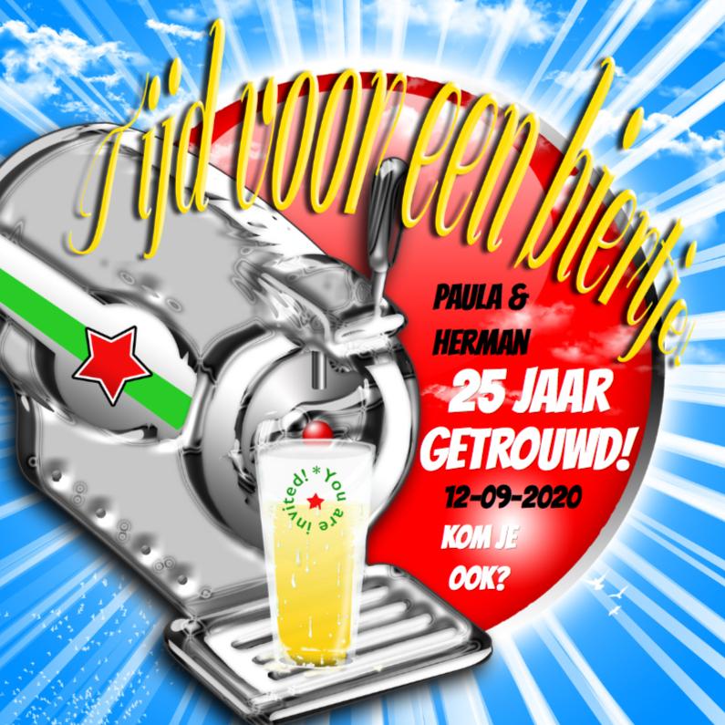 Jubileumkaarten - Biertap en glas trendy a