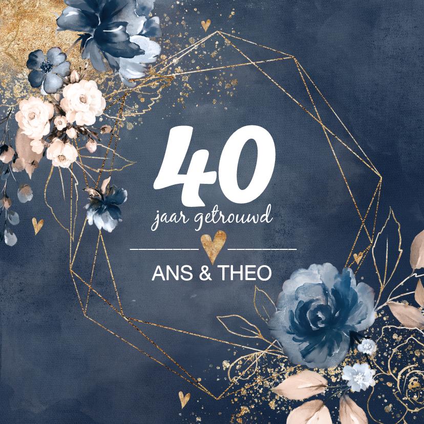 Jubileumkaarten - Chique donkerblauwe 40 huwelijksjubileum kaart bloemen