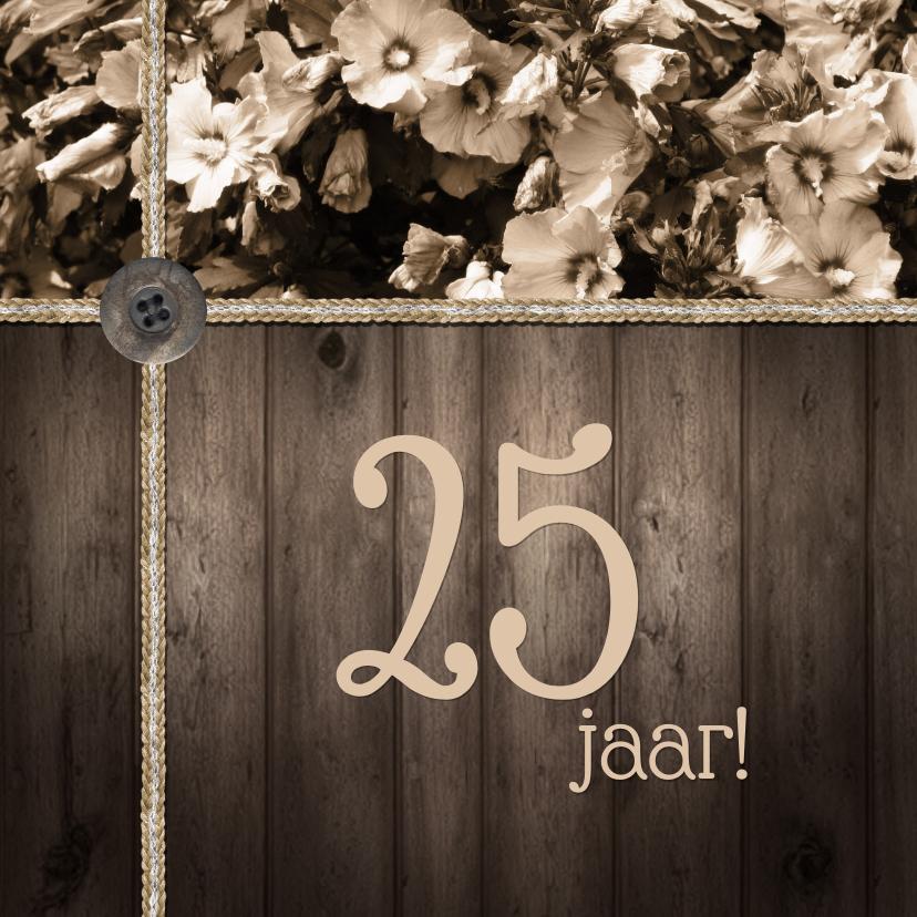 Jubileumkaarten - Feest hout bloemen vintage a