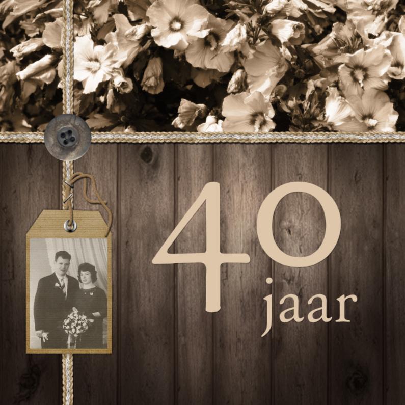 Jubileumkaarten - Feest hout bloemen vintage b