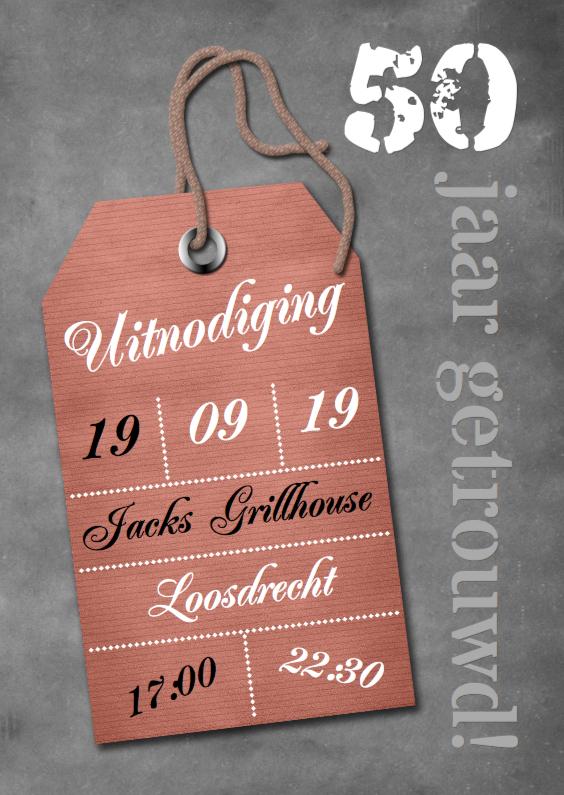 Jubileumkaarten - Feest krijtbord label en foto a