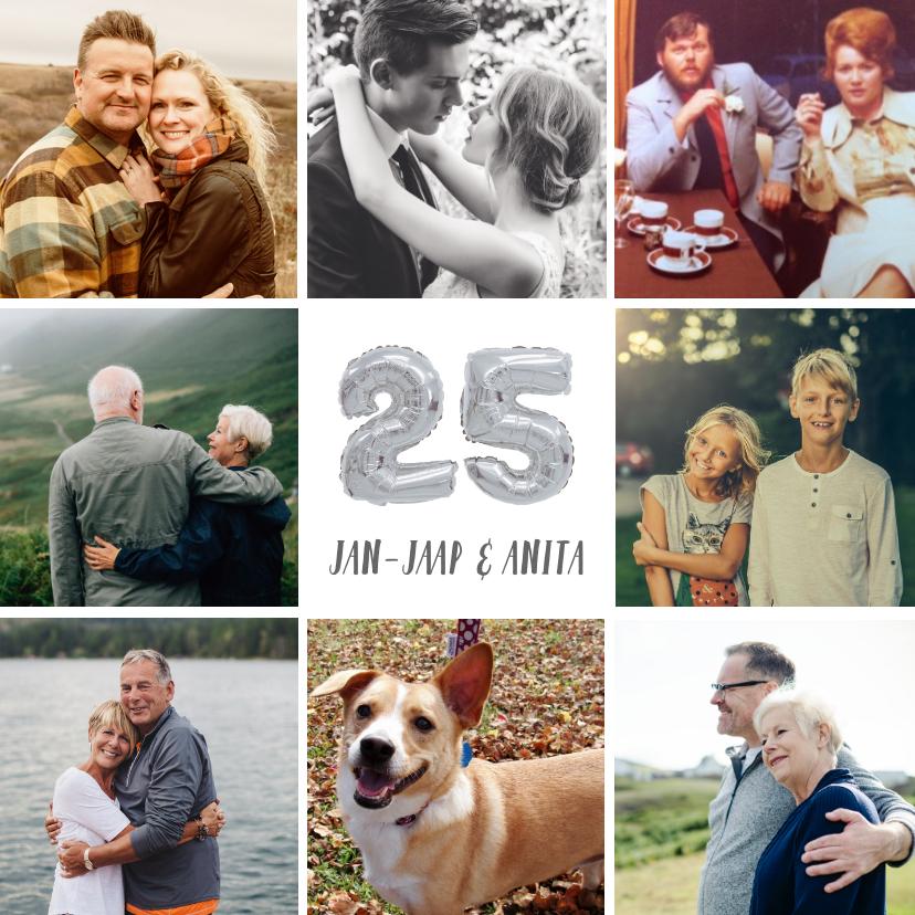 Jubileumkaarten - Fotocollage huwelijksjubileum kaart met zilveren 25 ballon