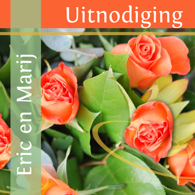 Jubileumkaarten - Fotokaart uitnodiging groen oranje