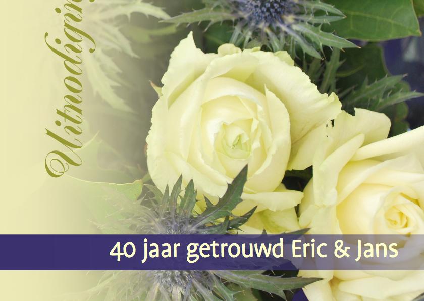 Jubileumkaarten - Fotokaart witte roos met paars