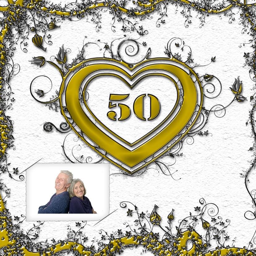 Jubileumkaarten - Goud 50 jaar in hart foto RB