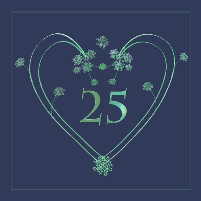 Jubileumkaarten - groen hart 25 jaar