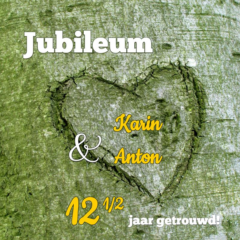 Jubileumkaarten - Hart in boom 12,5  jaar getrouwd - OT