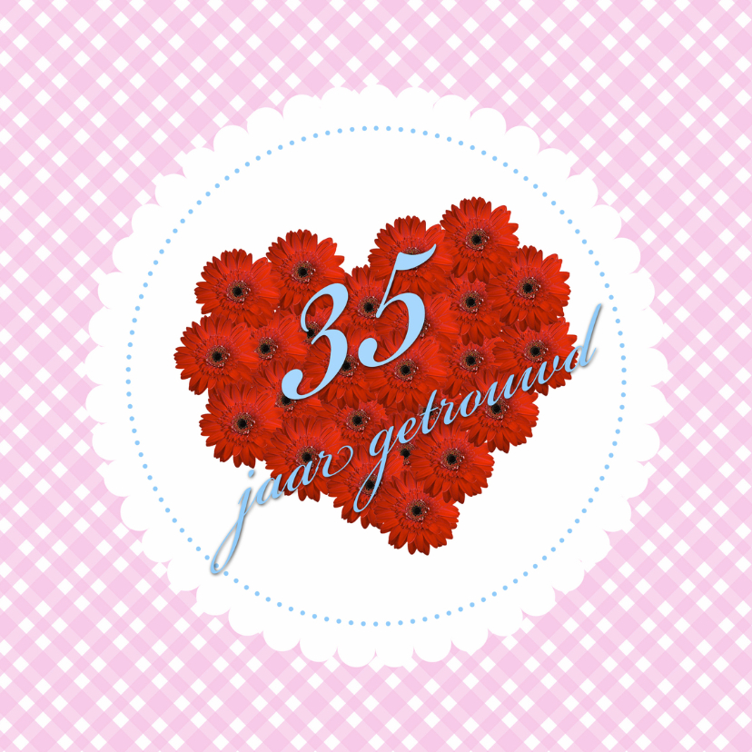 Jubileumkaarten - hearts 35 jaar getrouwd