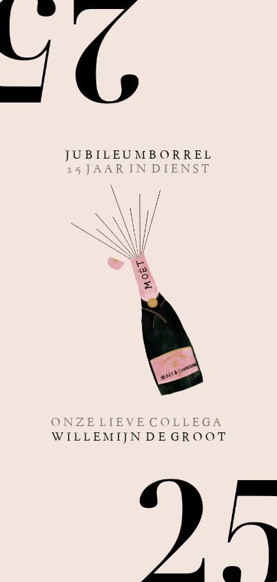 Jubileumkaarten - Hippe jubileumkaart medewerker 25 jaar met champagnefles