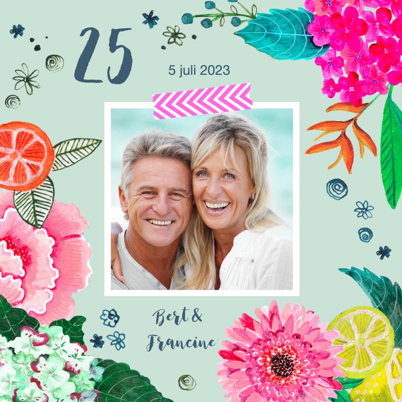 Jubileumkaarten - Huwelijks jubileum 25 jaar Bloemen