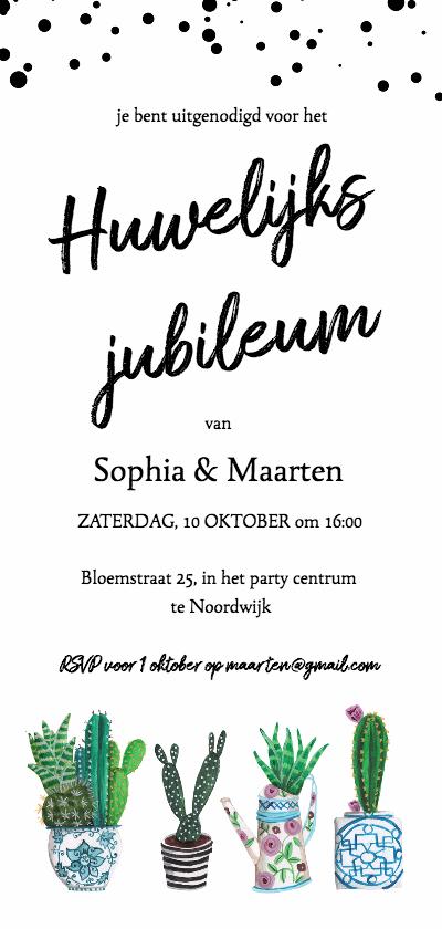 Jubileumkaarten - huwelijks jubileum cactus trendy