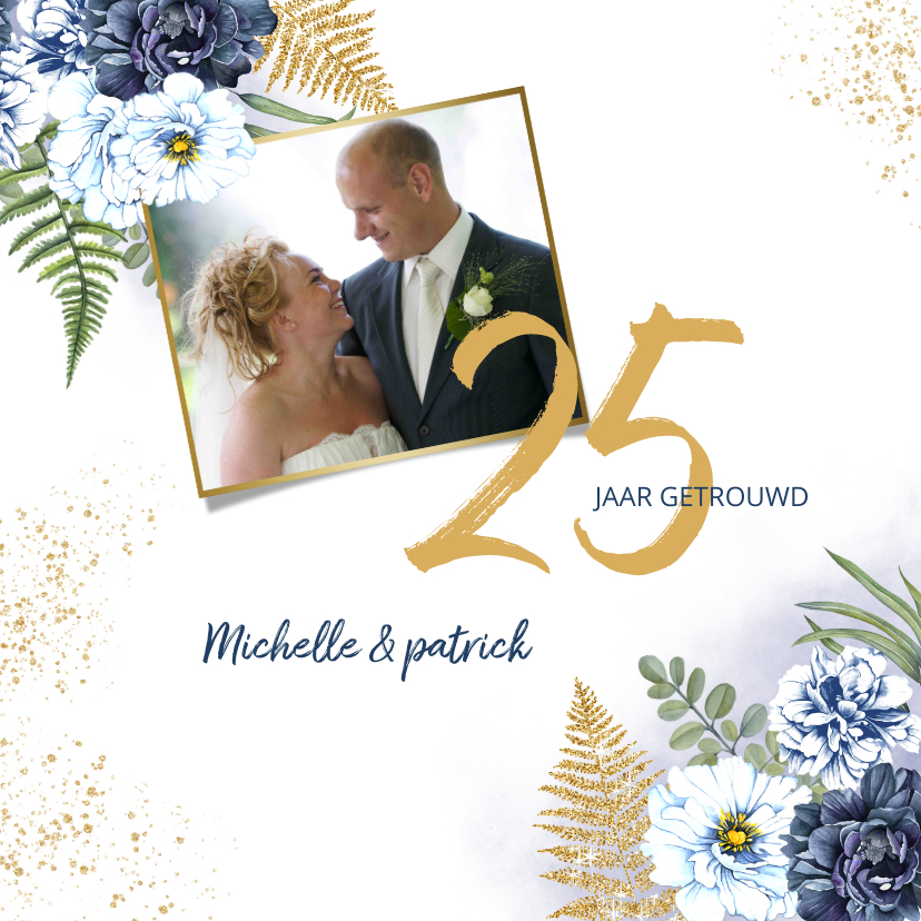 Jubileumkaarten - Huwelijksjubileum blauwe rozen foto