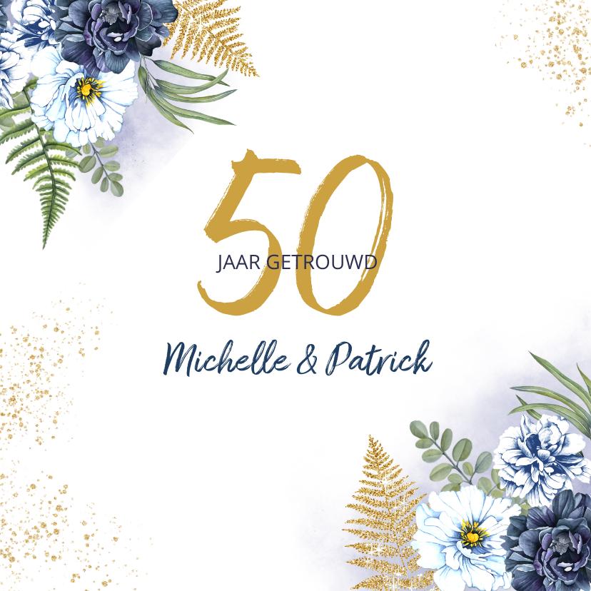 Jubileumkaarten - Huwelijksjubileum blauwe rozen