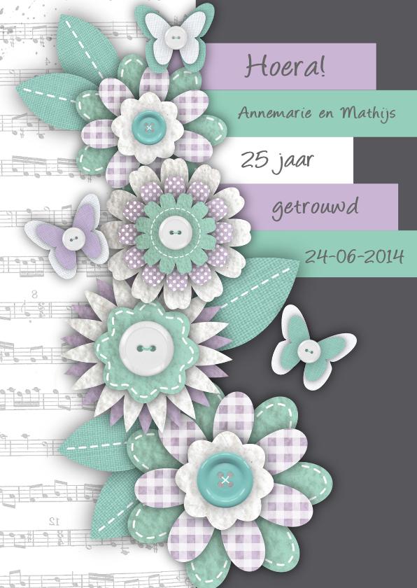 Jubileumkaarten - Huwelijksjubileum bloemen vlinders tekst