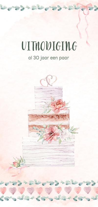 Jubileumkaarten - Huwelijksjubileum bruidstaart, rozen, hartjes en lint