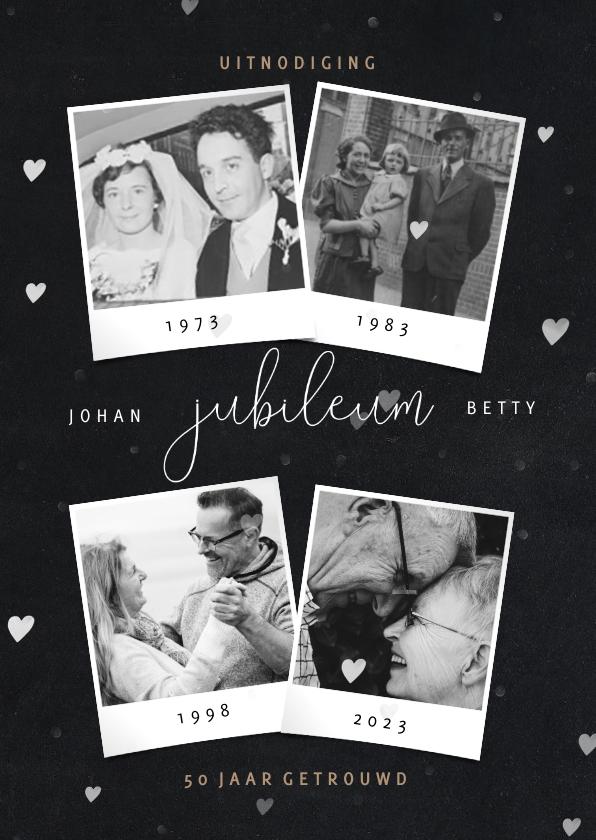 Jubileumkaarten - Huwelijksjubileum fotocollage en hartjes