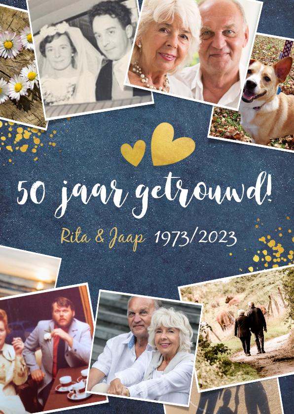 Jubileumkaarten - Huwelijksjubileum fotocollage uitnodiging feest 50 jaar