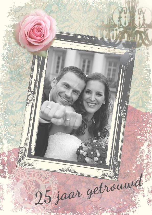 Jubileumkaarten - Huwelijksjubileum fotolijst roos romantisch