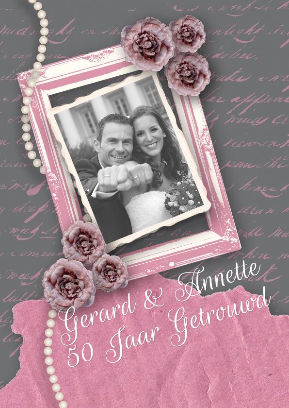 Jubileumkaarten - Huwelijksjubileum fotolijst rozen vintage