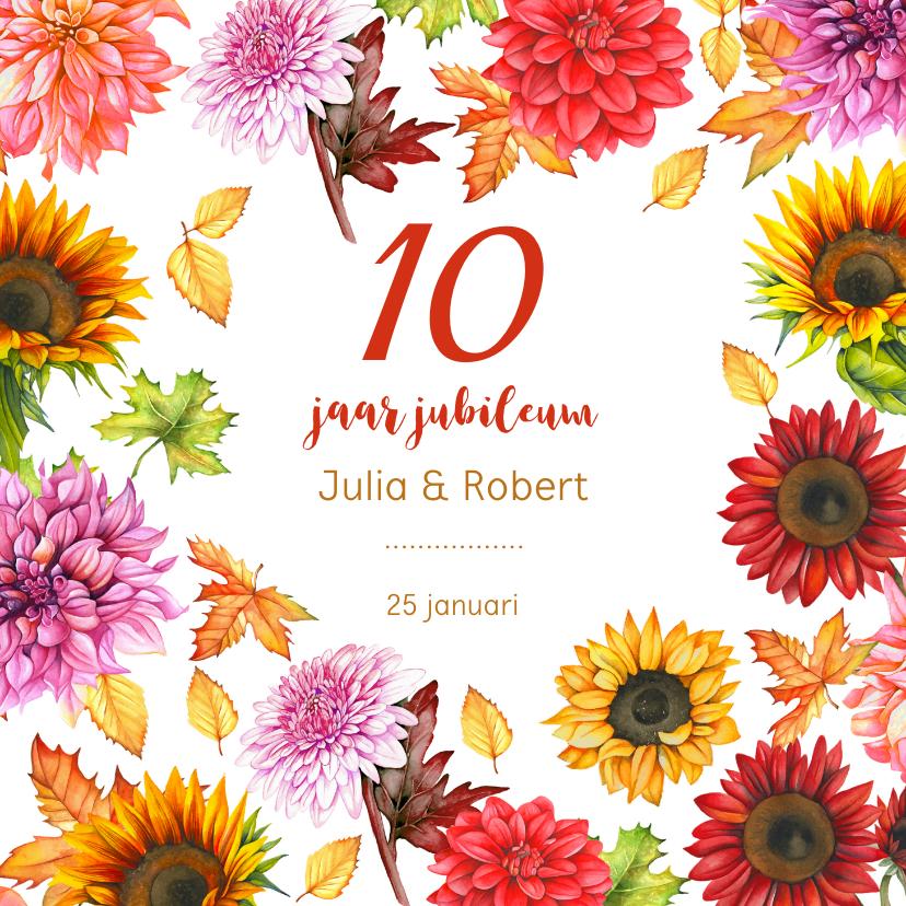 Jubileumkaarten - Huwelijksjubileum herfstbloemen