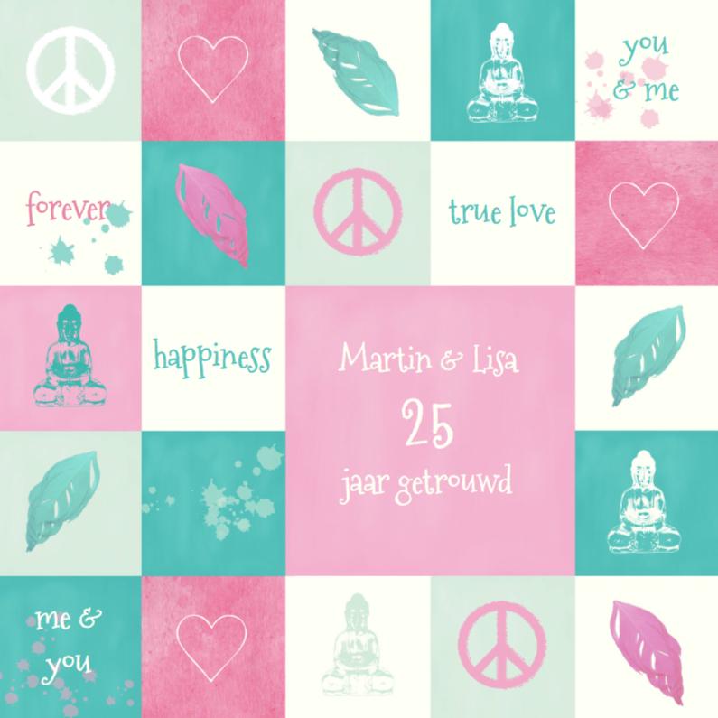 Jubileumkaarten - Huwelijksjubileum Hippie Chic