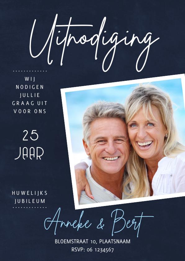 Jubileumkaarten - Huwelijksjubileum less is more krijtbord donkergrijs