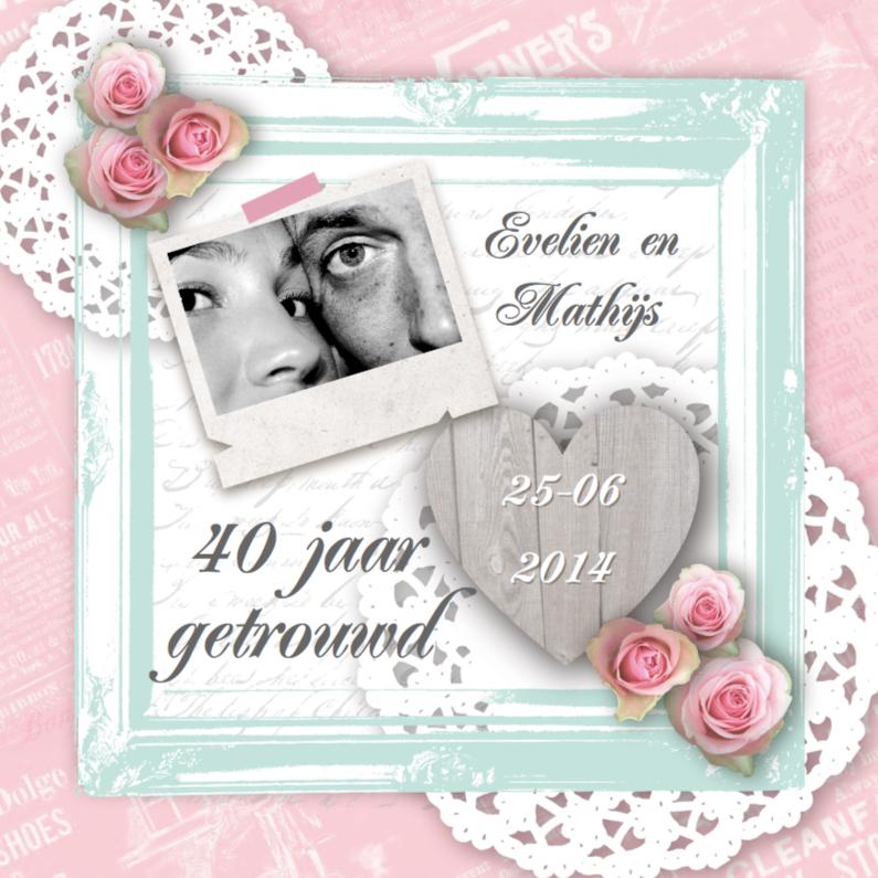 Jubileumkaarten - Huwelijksjubileum lief fotolijst rozen