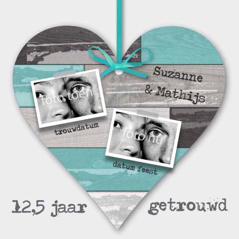 Jubileumkaarten - Huwelijksjubileum Steigerhout Hart