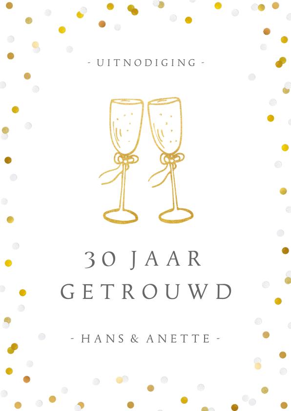 Jubileumkaarten - Huwelijksjubileum uitnodiging champagne glazen en confetti